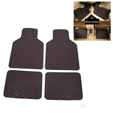 4Pcs Car Floor Mat Front Rear Carpet Protect Pad PU Leather Black With Red Line