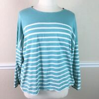 Coldwater Creek Womens Top Striped Dolman Cotton Long Sleeve Plus Size 2X