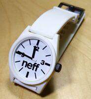 Used Neff Daily White Analog Watch *Fresh Battery* 5 ATM
