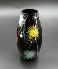 Beautiful Old Painted Black Vase