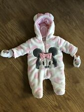 DISNEY Baby Plush Light Pink MINNIE MOUSE Hooded Snowsuit Bunting Girls 0-3 Mo.