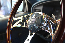 "380mm Chrome Dark Mudflap Steering Wheel Wood Grip (15"") - 6 Hole Chevy GMC C10"