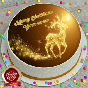 MERRY CHRISTMAS GOLDEN RUDOLPH PERSONALISED 7.5 INCH EDIBLE CAKE TOPPER B196G