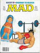 VINTAGE MAD MAGAZINE-APRIL 1986-ALFRED FIGHTS ROCKY-FAST SHIPPING WORLDWIDE