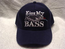 KISS MY BASS FISH FISHING BASEBALL CAP HAT ( DARK BLUE )