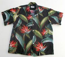 Aloha Camp Shirt Black with Tropical Flowers Red Green Newt at the Royal Large