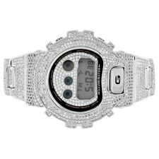 Casio G-Shock Silver Finish DW6900-Diverso Custom Iced Out Simulated Diamonds