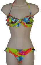 Raisins bikini swimsuit size M ruffled bandeau lowrider 2 piece set nwt new