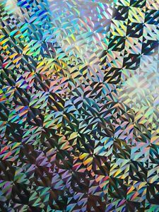 2x A4 Craft Card Silver Holographic Square Geometric Pattern