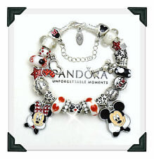 PANDORA Sterling Silver Charm Bracelet Disney Mickey Minnie + Euro Charms New
