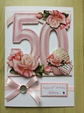 Luxury Hand-Made 50th Birthday Card-Can Be Personalised-Any Relative/Friend
