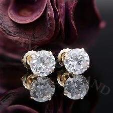 3 CT. ROUND CREATED DIAMOND STUD EARRINGS 14K YELLOW GOLD HEAVY BASKET SCREWBACK