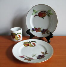 Royal Worcester Evesham Gold 2 Bread Plates + Small Storage Jar No Lid England