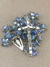 Catholic Rosary Pale Blue Aurora Borealis Faceted Glass Crystal Beads