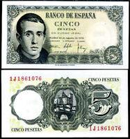SPAIN 5 PESETAS 1951 P 140 UNC