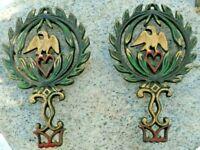 Wrought Iron Cast Gold Colored Painted Eagle Trivit Vintage Pair Set 2 Antique