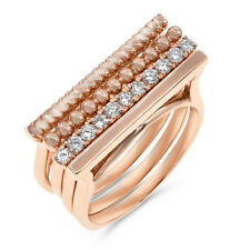 Wide Stacked Cocktail Right Hand Ring $3354 18K Rose Gold Pave Diamond