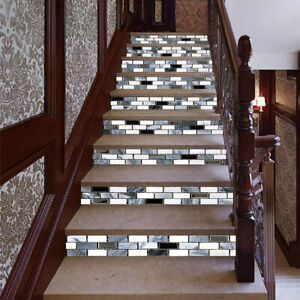 13Pcs 3DSmall Tile Cube Stair Risers Removable Wall Sticker Art Decal Wallpaper