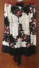 M&S Ladies White & Black Flowered Linen Blend Skirt with Belt, Size 10