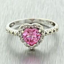 Modern 10k Solid White Gold Pink Tourmaline Heart Diamond Cut Love Ring
