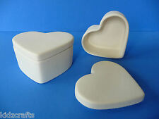 Paint Your Own Pottery HEART TRINKET BOXES Kids Children Art Craft Pack of 2