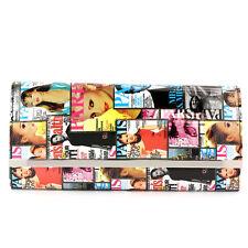 Paris Magazine Clutch Trendy Ladies Purse Handbag Color W/ Chain Silver Trim New