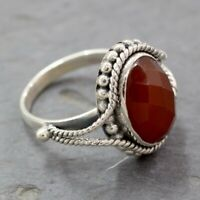 Solid Handmade 925 Sterling Silver Oval Shape Red Onyx Ring KGJ-R-1101