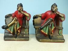 Classic Dante Bookends, Polychrome on Plated White Metal, K&O Mfg., Circa 1920's