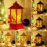 Christmas Santa Claus Snowman Castle Lamp Light Fairy Hanging Lantern Ornament F
