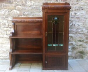 ANTIQUE FRENCH ART NOUVEAU  DISPLAY CABINET WALNUT & STAINED GLASS 1900s