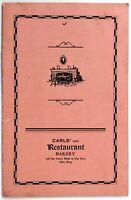 1930's Vintage MYSTERY Menu CARLS INC. RESTAURANT BAKERY Unknown Location & City