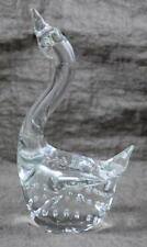 Swan Figurine Bubbles Murano Style Glass Clear Green Silver Fleck #2