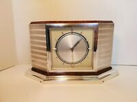 Vintage MCM Monet Watch 8 Giorni Real 800 German Silver/Burl Wood Mantle Clock