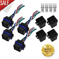 4pc 12V 40amp 5 pin 5 wire Relay Plug Socket Heavy Duty 40A Waterproof Auto Fast