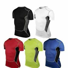 Mens Compression Tights Baselayer Short Sleeve Sport Athletic T-Shirt Tee Top Au
