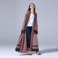 Muslim Long dress Women Soft Ployester +Lace Cardigan Islamic Lace Abaya Kaftan