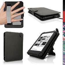 Schwarz PU Folio Leder Tasche für Kobo Glo HD 2015, Touch 2, Aura Hülle Case