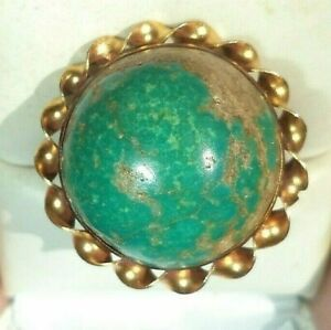 fine 14K gold sterling silver blue turquoise pacific hemisphere ring size 7 1/2
