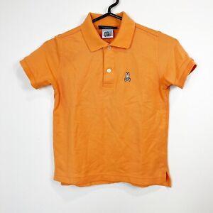 Psycho Bunny Youth Kids Mesh Polo Shirt Orange Short Sleeve Size Small 7/8