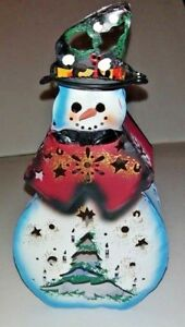 Small Snowman Tealight Candle Holder Metal Christmas Excellent Condition