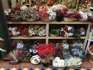 12x Artificial Christmas Bunches Flowers Greenery Joblot Berry Holly Poinsettia