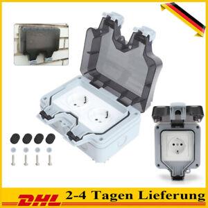 250V Wandsteckdose Box Für Außenbereich Steckdose IP66 Wasserdicht Staubdicht DE