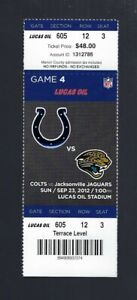2012 NFL JAGUARS FULL FOOTBALL TICKET - TY HILTON FIRST NFL TD from ANDREW LUCK