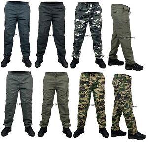 Mens Fleece LINED Elasticated Work TROUSERS Cargo Combat Work Pants Bottoms /