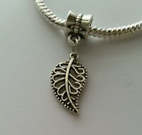 Silver Leaf Dangle Bead for European Style Charm Bracelet or Clip On Charm