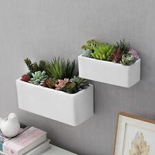 MyGift Set of 2 White Ceramic Wall Mounted Rectangular Succulent Planter Boxes