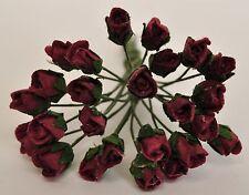 "Mulberry Paper Flower Tiny Rose bud BURGUNDY 1/4"" miniature for doll house proj"