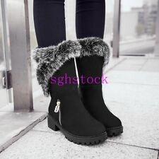 2016 Winter Womens Round toe Warm Faux suede Chelsea Boot Ankle Boots shoes Size