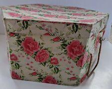 "Vintage Hat Box Shabby Chic Pink Rose Floral 14"" Cardboard Rope Handle -Wear"