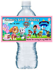 20 ~ PAW PATROL BIRTHDAY PARTY FAVORS FOR GIRLS WATER BOTTLE LABELS